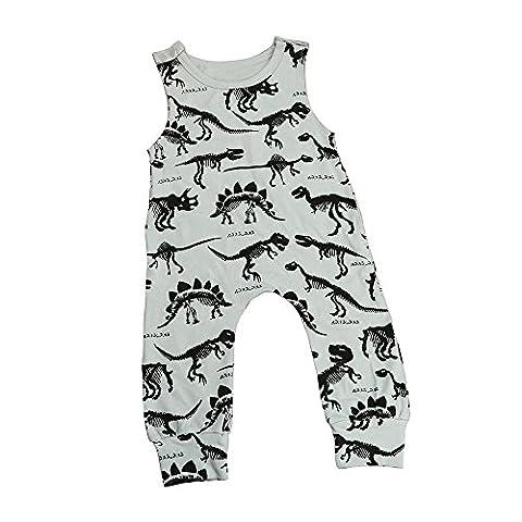 Baby Romper, Fulltime(TM) Kids Baby Boy Girl Print Jumpsuit Romper Outfits (Size:18M, Grey)