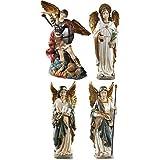 Arcángel San St Michael Gabriel Uriel Raphael figuras capilla 4piezas Estatua Decoración