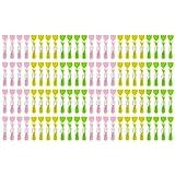 Wellgro® Wäscheklammern Set mit Soft-Grip und starker Spiralfeder - Kunststoff/Metall verzinkt, breite Fläche zum Drücken, bunt, Blumen Design - Mengen wählbar, Stückzahl:96 Stück
