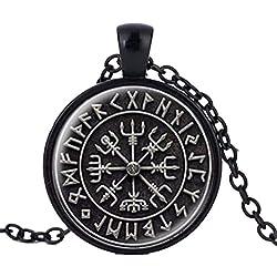 Colgante nórdico modelo vikingo de forma circular con runas, color negro