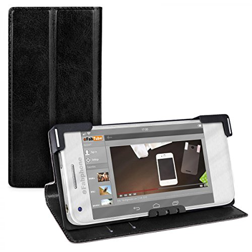 eFabrik Universal Smartphone Cover 5 - 5.2 Zoll Schutz Tasche Hülle Case Schutztasche Schutzhülle Handyhülle Etui Leder-Optik schwarz