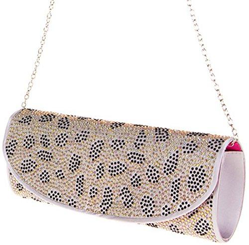 Pochette elegante pochette cerimonia borsetta donna strass pochette maculata pochette catena argento