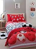 Für Einzelbetten, Fußballmotiv, Rot / Weiß / Schwarz