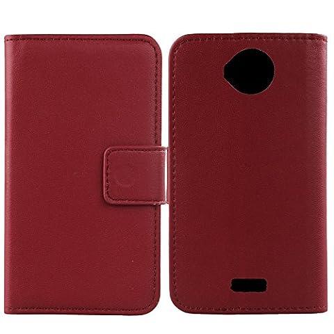 Gukas Design Veritable Cuir Etui Pour Wiko Cink Peax 2 Housse Coque Premium Case Cover Flip Protecteur Portefeuille Genuine Leather Wallet (Rouge Fonce)