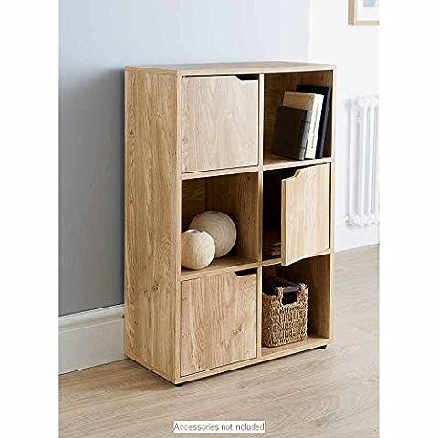 6 Cube MDF Oak Finish Standing Shelf / Shelves 3 Doors 3 Open Cubes Bookcase Office Home Storage