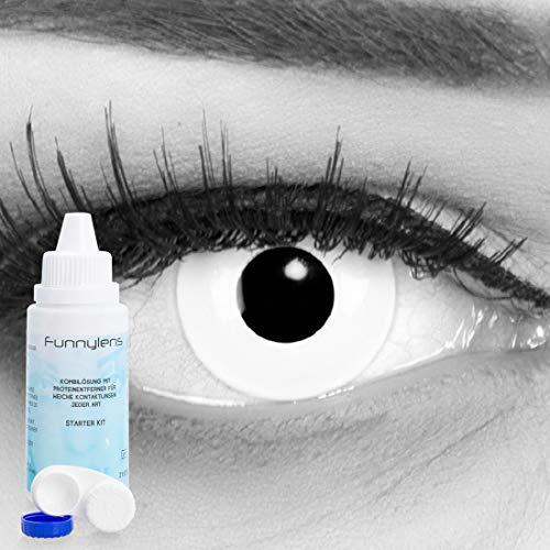e Kontaktlinsen crazy Kontaktlinsen crazy contact lenses Zombie Weiß White Out 1 Paar. Mit Linsenbehälter und mit 60ml Pflegemittel ()