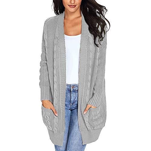 d.Stil Femme Gilet Ouvert Manches Longues Cardigan Casual avec Poche (gris1, 2XL)