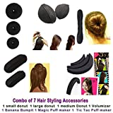 #1: Homeoculture Combo of 7 hair accessories 3 Donuts 1 Magic Puff 1 volumizer 1 Banana Bumpit 1 Tictac Puff