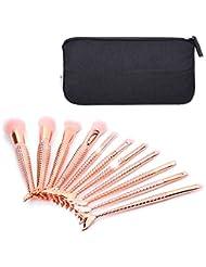 Lot de 10pinceaux de maquillage Myg Elite sirène écailles de poisson multi-usage kit de maquillage professionnel, outils avec sacoche