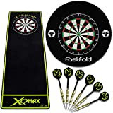 TW24 Dartset Schwarz Dartscheibe inkl. 6 Dartpfeile Dartmatte Surround Komplettset Dartteppich Dart Set Steeldarts Dartspiel
