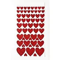 57 Glittery Red HEART Stickers in varying sizes from 10mm to 30mm