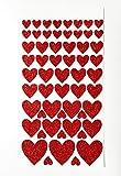 Glitterati 57adesivi cuore rosso vari formati da 10mm a 30mm