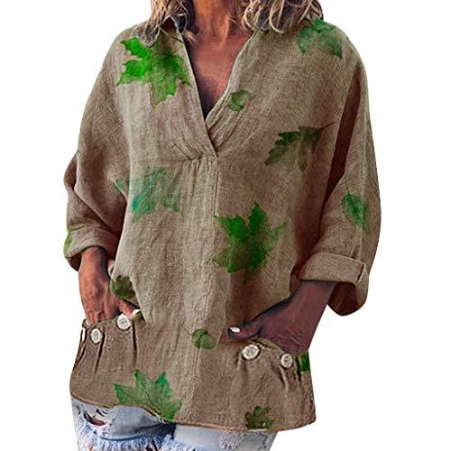 QIMANZI Bluse Damen Mode Übergröße Solide Beiläufig LeinenV-Ausschnitt T-Shirt(B Rosa,L) Crinkle-band