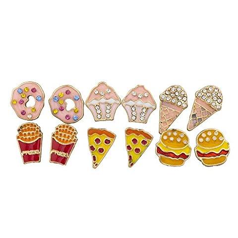 Lux Accessoires ton or Desserts et Junk Food Ensemble Boucles d'oreille fantaisie multi Lot de 6