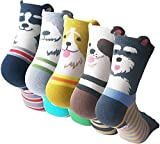 5 Paar Damensocken, KingYue Lustige Bunte Casual Baumwollsocken Kurze Crew Socken für Mädchen Frauen Tiersocken Katze Cat Hund Socken Größe 35-39