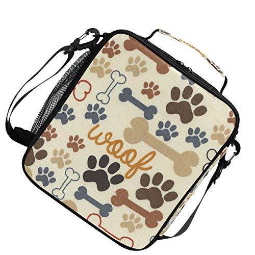 Isolierte Schulter verstellbarer Gurt Wärmer Kühler Lunchpaket Hund Pfote und Knochen für Picknick -