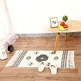 Rui Feng Läufer Teppich Baumwolle Waschbar Handwebteppich 60x90cm Vintage Marokkanisches Muster Antirutschmatte Teppichunterlage für Wohnzimmer, Schlafzimmmer, Esszimmer