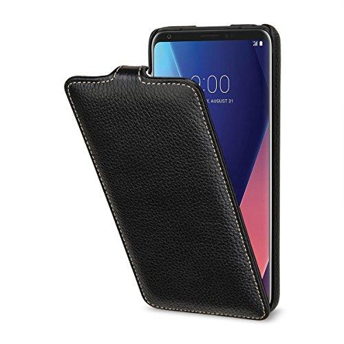 StilGut UltraSlim Case Lederhülle für LG V30 und LG V35 ThinQ. Dünnes Flip-Case vertikal klappbar aus Echtleder, Schwarz