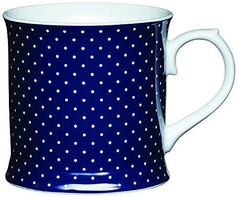 Kitchen Craft 400 ml Porcelain Blue Spot Tankard Shaped Mug, Multi-Colour