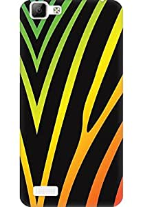 AMEZ designer printed 3d premium high quality back case cover for Vivo V1 (black yellow abstract stripes)