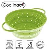 Coolinato Sieb faltbar aus Silikon | Platzsparend, leicht zu reinigen und Spülmaschinenfest | Verwendet als Nudelsieb, Abtropfsieb, Dampfgar Einsatz oder Küchensieb | Grün 24 cm