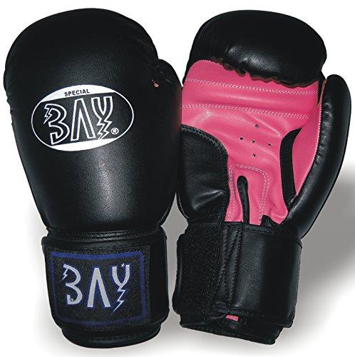 """BAY® """"Future"""" Boxhandschuhe SCHWARZ / PINK ROSA 6 8 10 Unzen UZ OZ Box-Handschuhe, Leder-PU Boxen Kickboxen Thaiboxen MMA Muay Thai K-1 K1 Kinder Damen Frauen Kids Lady"""