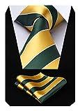 HISDERN Striped Wedding Tie Handkerchief Men's Necktie & Pocket Square Set (Yellow & Green)