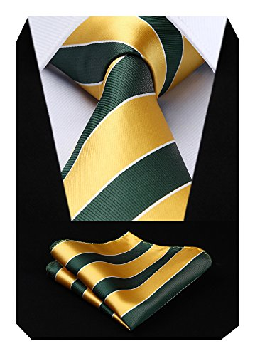 HISDERN Extra lange Polka Dots Krawatte Taschentuch Herren Krawatte & Einstecktuch Set Gold und Gr¨¹n