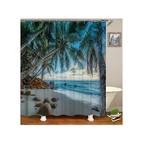 AmDxD Duschvorhang aus Polyester| 3D-Druck Strand Palm Baum Muster Design Bad Vorhang Badewannenvorhang | Grün | mit 12 Duschvorhangringen für Badewanne Badezimmer - 120x180CM