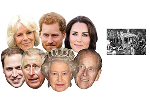 Diamond Jubilee Royal Family Packung von 7 (Kate Middleton, Prince Willam, Prince Harry, The Queen, Prince Philip, Prince Charles, Camilla) - Enthält 6X4 (15X10Cm) - Hollywood Masken Kostüm
