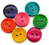 Sadingo Holzknöpfe - 10 Stück - 1,5 cm - Bunter Mix - Rot Grün Gelb Blau Pink - Kleine Knöpfe Set Zum Nähen und Basteln