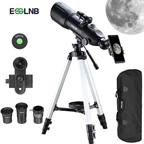 ESSLNB Refraktor Teleskop Astronomie 80/400 Fernrohr Teleskop für Kinder Einsteiger und Amateur-Astronomen mit 10x Smartphone Adapter Ausziehbares Stativ Tasche und Mondfilter