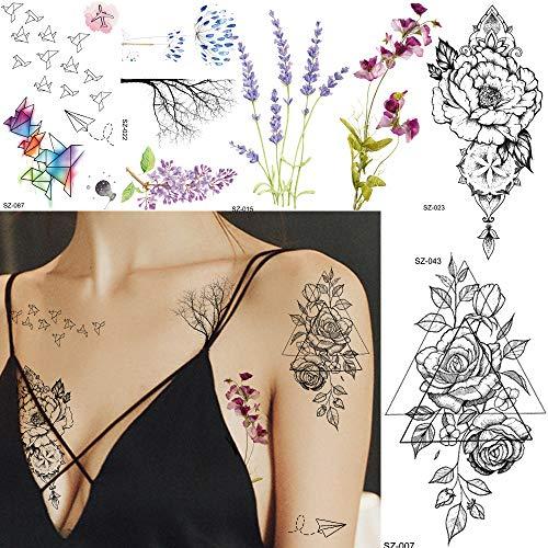 ier Flugzeug Aquarell gefälschte Zweig Tattoo Body Art Sticker Frauen Arm Geometrie Lavendel Blume Tattoos Tattoo Girl ()