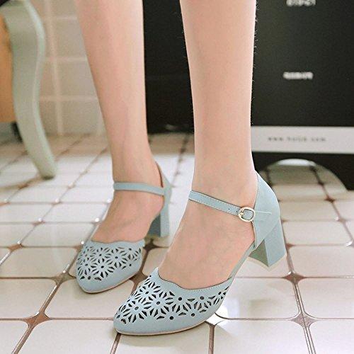 Damen Knochelriemchen Schuhe Pumps Blockabsatz Mode Geschlossene Mitte Coolcept event Blau dt8Adw
