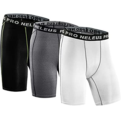 Neleus Men's 3 Pack Compression Shorts