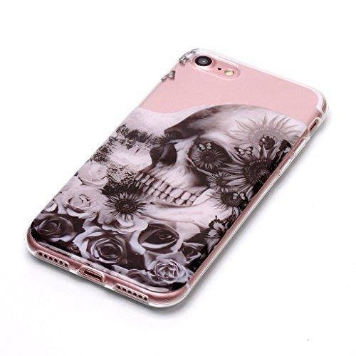 Custodia per iPhone 8, Custodia per iPhone 7 ,JIENI Trasparente Protezione Morbido Skull misteriosa TPU Bumper Cover Silicone Flessibile Case per iPhone 8 et iPhone 7 XS71