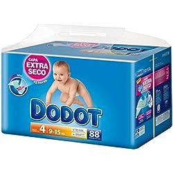 Dodot - Pañales infantiles, talla 4, 9-15 kg - hasta 12h seco - 88 unidades