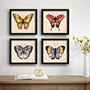 SAF Butterfly Designer Set of 4 UV Textured Painting (19 x 19 Inches, SAF_SET4_17)