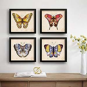 SAF Butterfly Designer Set of 4 UV Textured Painting (19 x 19 Inches, SAF_SET4_17)