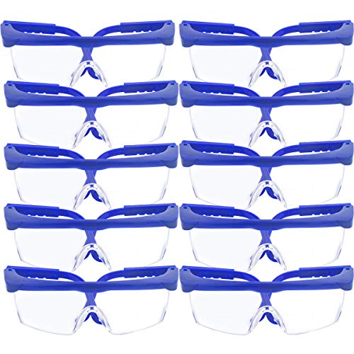10 Stück Sicherheit Brille & Schutz Brillen, TooTaci verstellbar blau Frames für Kinder Erwachsene Eye Schutz mit Klar dicker PC Objektive und mit Gummi Nase und Ohr Grips, für Aktivitäten Spiel