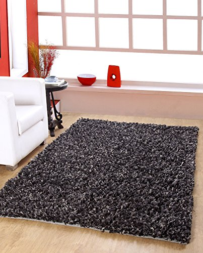 CENTRA HOME PAPER SHAG COLLECTION... Handmade Rug Make You feels Elegance, Soft & Rich 3.6*5.6ft , Textured Effect, --- Grey/Black