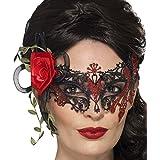 Antifaz La Catrina - Negro-Rojo | Media Careta Día de los Muertos | Mascarilla de Metal | Máscara Venecia Halloween