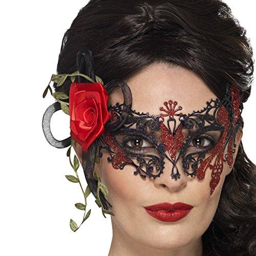 NET TOYS Dia de los Muertos Maske Venezianische Augenmaske mit Rosen schwarz-rot La Catrina Venedigmaske Tag der Toten Maske