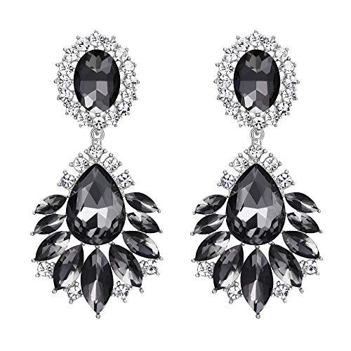 ge Kristall Hochzeit Blumen Blume Blatt Vintage Stil Leuchter Ohrhänger Ohrstecker Ohr Schmuck Grau Silber-Ton ()
