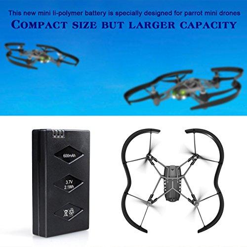 Morpilot 3er Pack 3,7V 600mAh 20C Li-po Batterie mit 3-Port Schnellladegerät Stromkreisschutz für Parrot MiniDrones Springen Sumo, Papagei Mini Drone Rolling Spider - 6