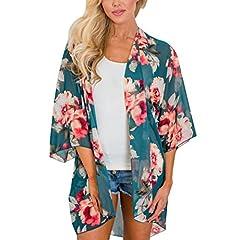 e0c558931b23 ... Chiffon Elegante Donna Tops - Chiffon Vintage Estivo Scialle Sexy  Camicetta Kimono Vestito Lungo Estate Boho Tunica Etnica Abito da Spiaggia  (S, Verde)