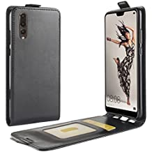 Custodia Cover Huawei P20, HualuBro Custodia in Pelle PU Leather Protettiva Case Flip Cover per Huawei P20 Smartphone (Nero)