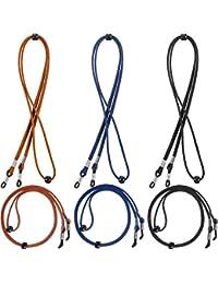 6 Piezas de Cordón de Gafas Cuerda de Gafas de Sol con Puntas de Silicona Antideslizantes, 3 Colores Negro, Marrón Oscuro, Azul Oscuro