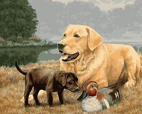 1 Familie, Schwarz, Weiß, Retriever, Labrador, Welpen, Hund, Ente, Pet, Landschaft, Natur, Tier, Acryl Diy Malerei Durch die Anzahl der Hobby-Kit, Home Wand -