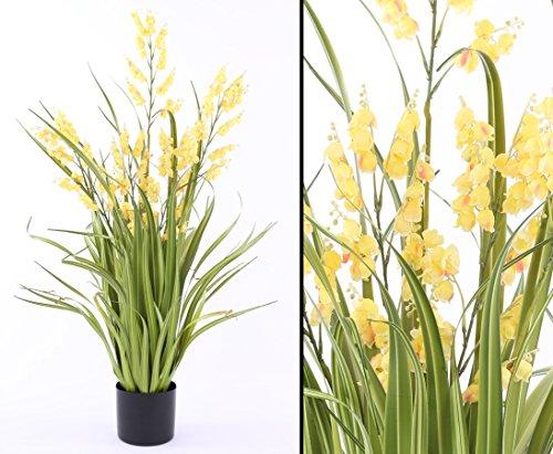 Künstliche Glockenblume mit gelben Blüten und Gras 105cm – Kunstpflanze Kunstbaum künstliche Bäume Kunstbäume Gummibaum Kunstoffpflanzen Dekopflanzen Textilpflanzen
